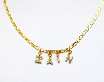 Custom CZ Name Choker - Name Necklace - Gold Choker - Gold Necklace - Name Choker