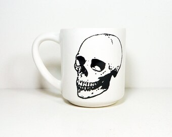 15oz coffee mug/tea mug with giant Badass Skull on both sides, shown here in White glaze. READY TO SHIP