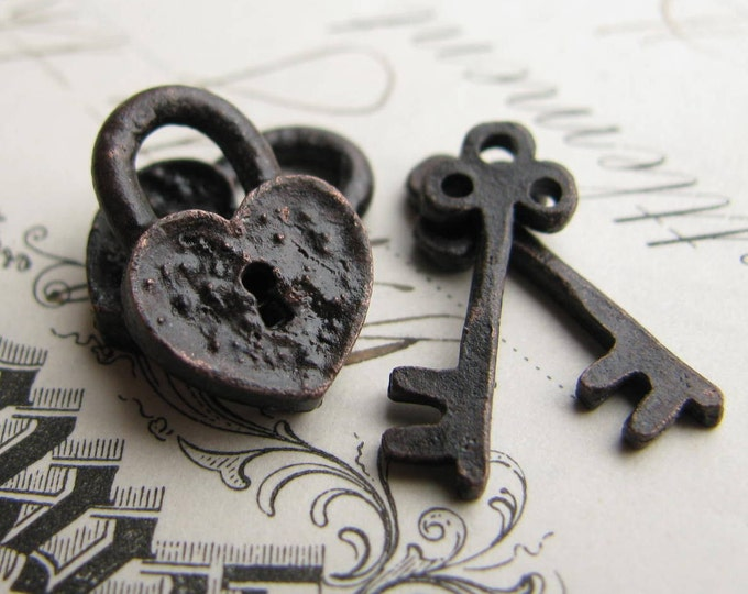 Rustic, weathered heart lock and key charm sets from Bad Girl Castings - aged black patina pewter 18mm (2 lock, 2 key charms)  small