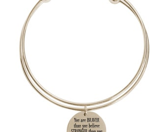 You are braver that you believe double layer bangle - DOUBLEBANGLE-YOUAREBRAVER-GLD - Gold