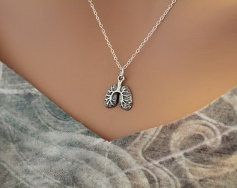 Sterling Silver Lung Charm Necklace, Lungs Necklace, Realistic Lungs Charm Necklace, Lung Necklace, Anatomical Lungs Charm Necklace