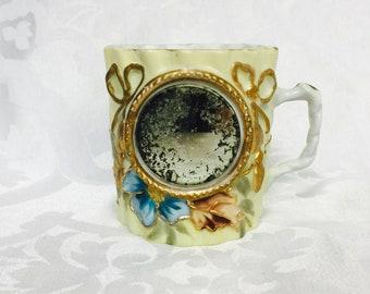 Antique RARE Shaving Mug with Round Mirror Aged Beautifully like Art