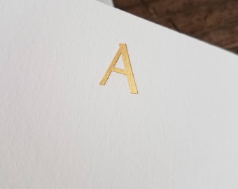 Foil Stamped Stationery   Personalized Initial Notecards   Gold Foil