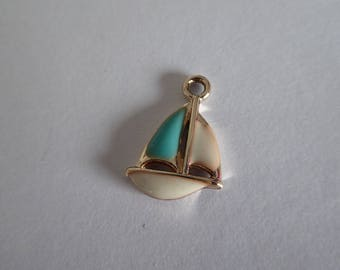 2 Gold enameled boat charms 21mm x 14mm white and turquoise