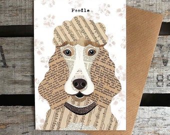 Poodle dog greetings card