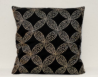Gold circle flower pillow cover, Gold Cushion Cover, Geometric Pillow Case
