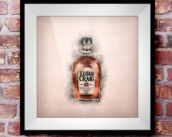 Elijah Craig 12 Year Straight Bourbon - Crosshatch Whisky Wall Art