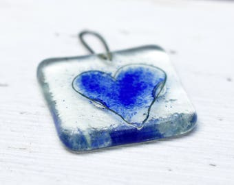 blue heart gift tag - glass wedding favours - fused glass ornament - recycled glass - eco favor - glass love token - 3rd wedding anniversary
