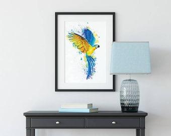 Macaw Tropical Parrot Wall Art Print - Bird Prints - Bird Gifts - Watercolour Wall Art - Bird Painting - Bird Art - Tropical Print - Feather
