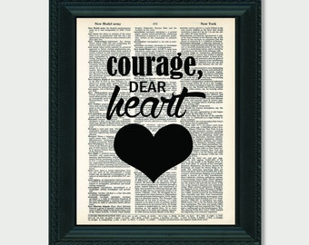Courage Dear Heart CS Lewis Quote Typography dictionary print art