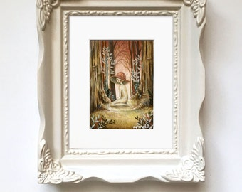 Chanterelle Baby // Original Painting // Mushroom Girl, Forest, Forest Art, Mushroom, Anthropomorphic, Woodland, Whimsical, Cute, Autumn