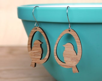 Bird earrings made from Bamboo Earrings  - lightweight eco-friendly, dangle earrings, lightweight earrings