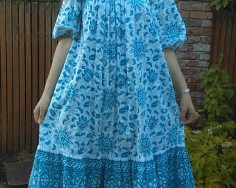 1970s Ramona Rull blue + white Indian floral cotton dress with real mirrors! // osfm