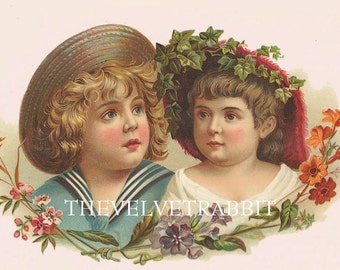 Instant Digital download.Victorian girl boy pinks.Vintage image.Darling Rare.frame, gift price  tags,,use in decoupage, collage,scrapbooks