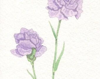 Purple Carnations Card