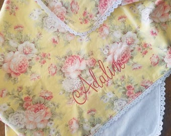Floral Shabby Chic Baby Girl Blanket /Baby Shower Gifts/Baby Play Mat/Baby Girl Gifts