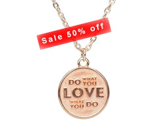 Rose Gold ' Do What You Love' Charm Necklace   Quote Necklace   Rose Gold jewellery