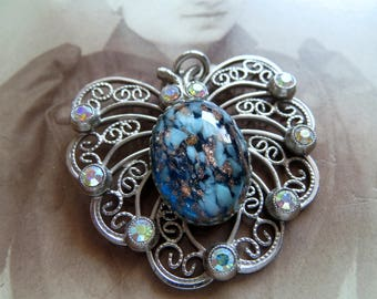 Vintage pendant, butterfly, pendant for necklace,-vintage jewelry pendant with glass stone cabochon and aurora borealis crystals,