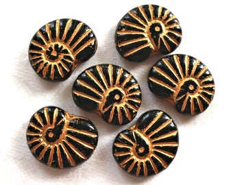 Six 17 x 12mm large black Czech glass snail beads with gold accents, ammonite shell beads C0406