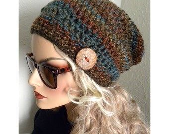 Slouchy Beanie Hat, Crocheted Slouchy Hat,Woodland Colors Slouchy Beanie, Women's Winter Hat, Fall/Winter Fashion Trends