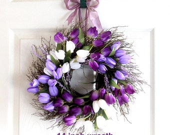 Small Purple Tulip Spring Wreath for front door, Easter wreath, Easter Decoration, Spring Wreath, Wedding Wreath, wreathe, Mother's Day