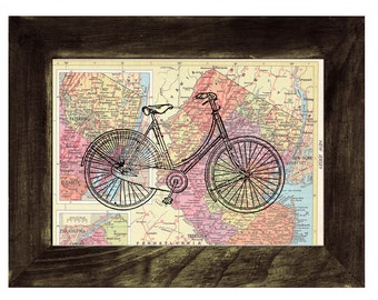 Map bike Book Print Dictionary or Encyclopedia Page Print map print bike  Print on Vintage Book art BPTV04