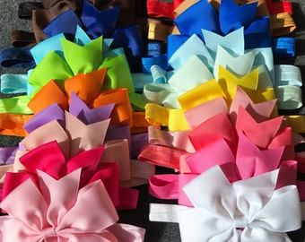 Baby Bow Headband Set, Baby Girl Headband, Baby Girl Bows and Headbands, Newborn Bow Headband, Infant, Baby Bows, Big Bow Headbands, Large