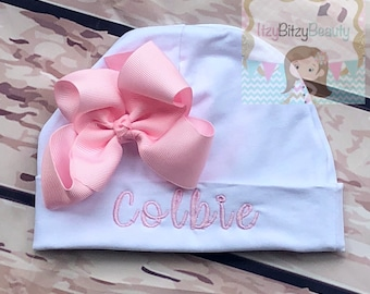Newborn Girls Hospital Hat - Bow Hospital Hat- Monogrammed Hat - Baby Hat -Embroidered Personalized Hat - Custom Name - ANY COLORS - Pink