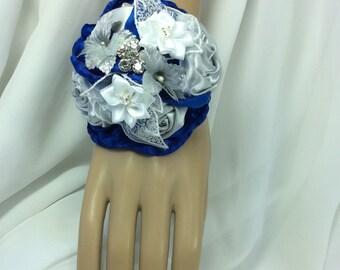 Royal Blue Corsage-Wrist Flowers-Royal Blue Prom-Wrist Corsage-Royal Blue and White Flowers-Wedding-Bridal Corsage-Bride-Mothers flowers