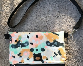 Hand painted folded crossbody bag