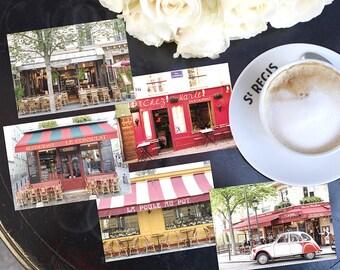 SALE! Paris Photography Postcards - Paris Cafes Postcard Series 3, Blank Card, Greeting Card, Stationery