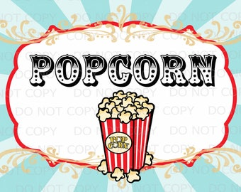 "Printable Vintage Circus Popcorn Poster Sign 20""x30"" - INSTANT DOWNLOAD"