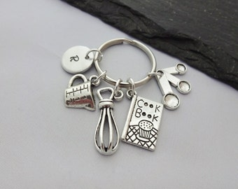 Chef Keyring, Cooking Keyring, Chef Gift, Cooking Keychain, Baking Keychain, Initial Keyring, Hand Stamped,Baking Gifts,Cooking Gifts,Bakers
