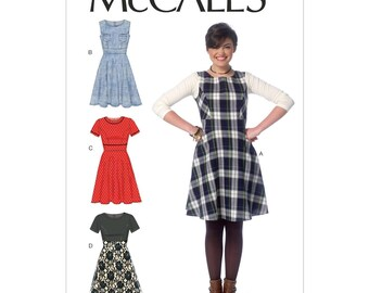 McCall's M7188 Size 6-14 or 14-22 Misses Flared Dress Sewing Pattern / Uncut/FF
