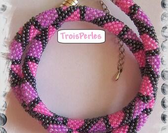 86 - Beaded Crochet Necklace - Kette - Perlenkette - Häkelkette