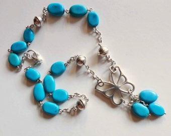 Turquoise & 925 sterling silver necklace Butterfly pendant