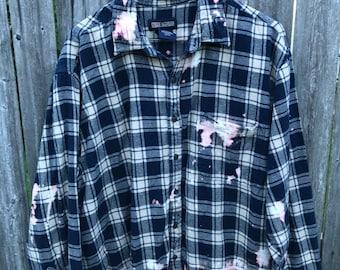 Navy Shredded Flannel