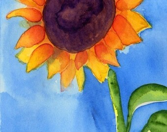 Watercolor Painting: Watercolor Flower Painting -- Art Print --  Sunflower -- 5x7
