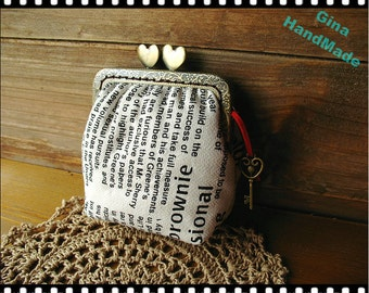 Vintage style newspaper heart-bead metal frame purse / Coin Wallet / Pouch coin purse / Kiss lock frame purse bag-GinaHandmade