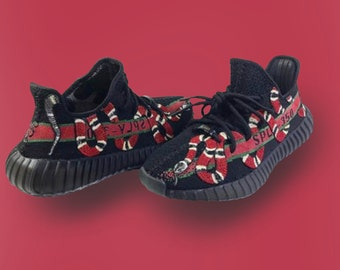 Custom Gucci Snake Yeezy 350 V2 (ALL SIZES)(Hand-Painted)