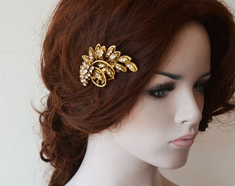 Gold Rhinestone Hair Clip,   Vintage Style Brooch Comb,  Wedding Hair Clip,  Wedding Hair Accessories
