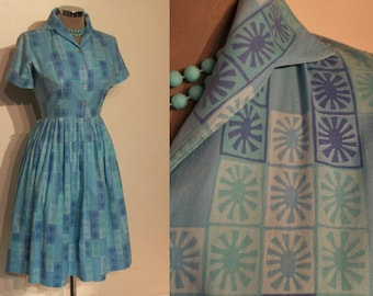 """Cool 1950s atomic print cotton shirtwaist day dress waist 26"""""""