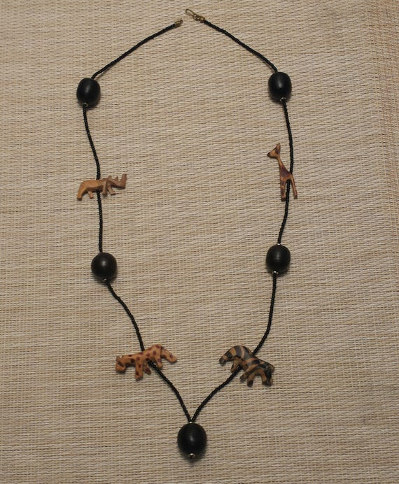 p hawaiian vintage c s necklace wooden carved larger accessories image flower
