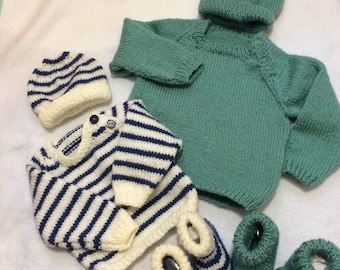 Sweater, Hat and booties Set