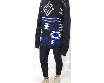Vintage Clothing • 1980's Knit Sweater • Blue, White, Purple and Grey Tones • Size Large