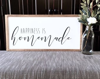 White Wood Board W/Wood Frame- Happiness is Homemade Sign