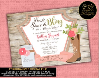 Cowgirl Baby Shower Invitation - Rustic Baby Shower Invitation