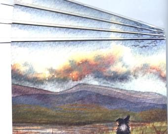 4 x Border Collie dog scenic greeting cards blank inside sheepdog landscape hills calling mountains Scotland admiring view  Susan Alison Art