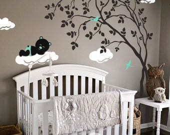 "Baby Nursery Wall Decals - Tree Wall Decal - Tree Decal - Teddy Decal - Large: approx 79"" x 62"" - KC029"