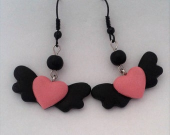 Black & Pink Flying Heart Earrings with Black Beads. Dark, Lolita. Pastel Goth, Grunge. Gothic. Creepy Cute.